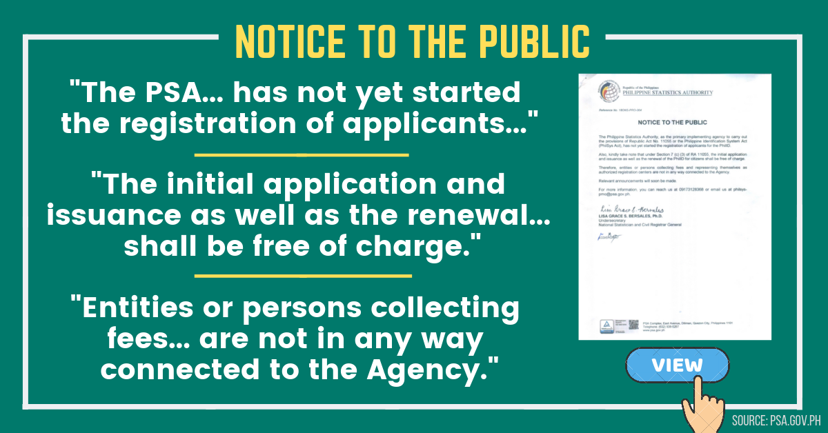 PSA Notice to the Public regarding the National ID Registration